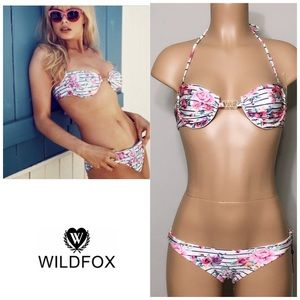 WILDFOX 90'S floral Rose stripe bikini set. NWT